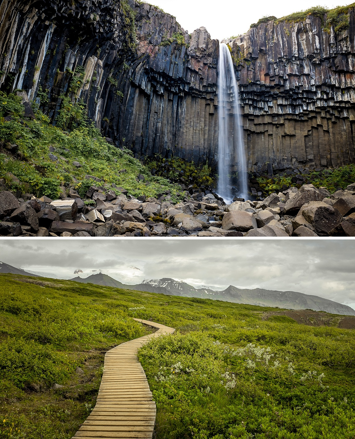 Svartifoss (Black Fall) is a waterfall in Skaftafell in Vatnajökull National Park in Iceland, and is one of the most popular sights in the park. It is surrounded by dark lava columns, which gave rise to its name. Other well-known columnar jointing formations are seen at the Giant's Causeway in Northern Ireland, Devil's Tower in Wyoming, USA and on the island of Staffa in Scotland. There are also similar formations throughout Iceland, including a small cave on the beach of Reynisdrangar. The base of this waterfall is noteworthy for its sharp rocks. New hexagonal column sections break off faster than the falling water wears down the edges. These basalt columns have provided inspiration for Icelandic architects, most visibly in the Hallgrímskirkja church in Reykjavík, and also the National Theatre.