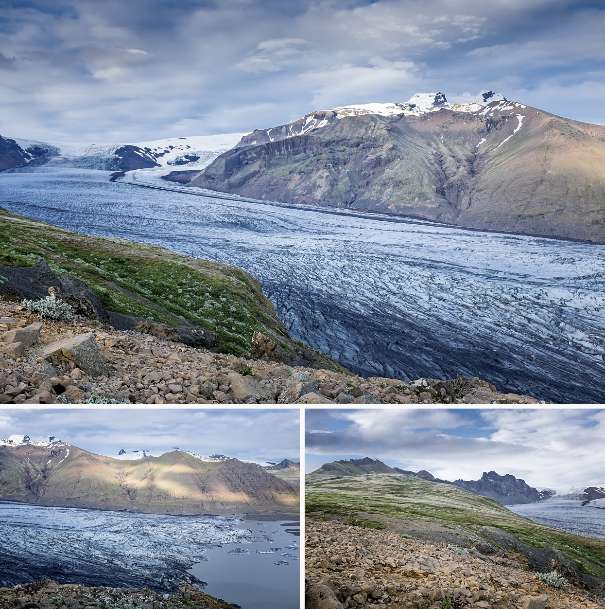 The scenery around Skaftafell is full of stark contrasts. The various glacial tongues are flanked by jagged mountains, with the glacier-topped peak of Hvannadalshnjúkur rising highest. Evidence abounds of the erosive forces exerted by glacial ice and rivers. From the time of the first sagas, this ice has variously advanced or retreated, reaching farthest around 1890, since when it has retreated.