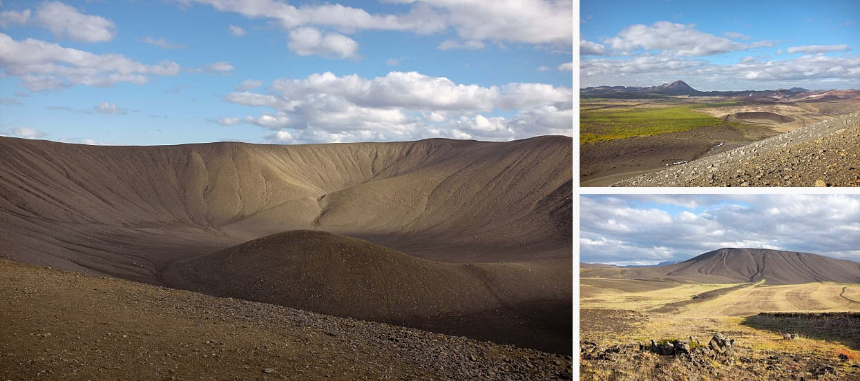 Hverfjall (also known as Hverfell) is a tephra cone or tuff ring volcano in northern Iceland, to the east of Mývatn. It erupted in 2500 BP in the southern part of the Krafla fissure swarm.The crater is approximately 1 km in diameter. Tephra has been carried from Hverfjall all over the Lake Myvatn area. A landslide apparently occurred in the south part of the crater during the eruption, which accounts for the disruption to the round shape of the mountain. During the Age of Settlement, lava flowed from Svortuborgir, at the southern end of Namafjall, around Hverfjall, which was nearly engulfed by the lava. At the same time an eruption occurred in the slopes above the valley of Hlidardalur