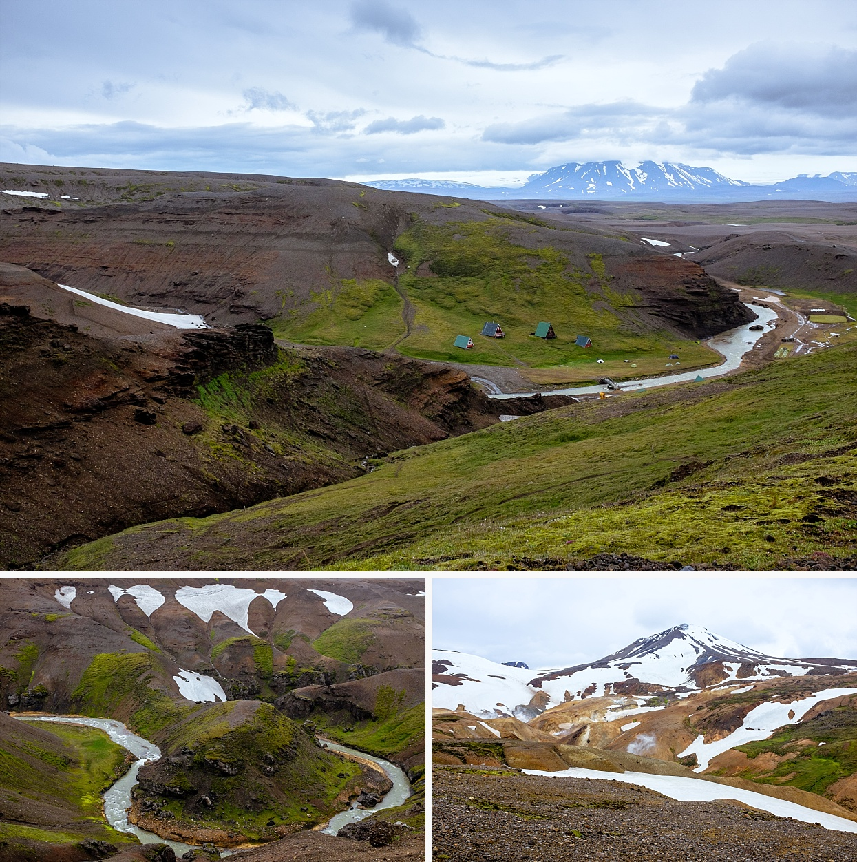 Kerlingarfjöll is a 1,477 m (4,846 ft) tall mountain range in Iceland situated in the Highlands of Iceland near the Kjölur highland road. They are part of a large tuya volcano system of 100 km2 (39 sq mi). The volcanic origin of these mountains is evidenced by the numerous hot springs and rivulets in the area, as well as red volcanic rhyolite stone the mountains are composed of. Minerals that have emerged from the hot springs also color the ground yellow, red and green.